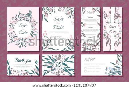 wedding card templates set eucalyptus branch stock vector royalty