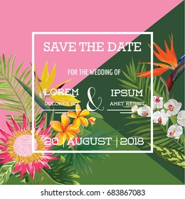 Wedding Card in Tropical Flowers Summer Banner, Exotic Floral Invitation, Save the Date in Vector