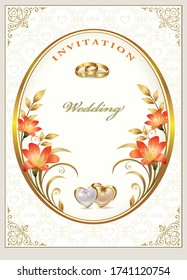 Wedding card, vector background design with flowers, rings and hearts for invitation, greetings