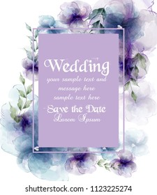 Wedding card with watercolor flowers Vector illustrations