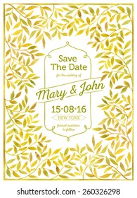 Wedding card with watercolor frame of leaves - a template for your invitation, postcards, cards and so on. Save the date.