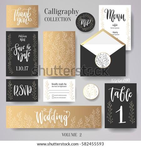 wedding cards collection set include wedding stock vector royalty