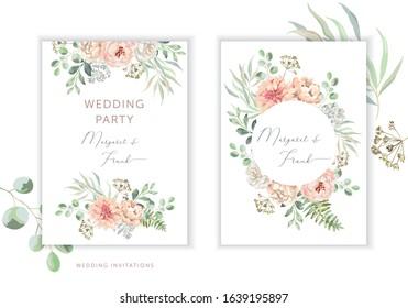 Wedding cards design. Blush pink peony, rose, dahlia flowers, green leaves bouquets, frames. Vector illustration. Romantic floral arrangements. Invitation template background