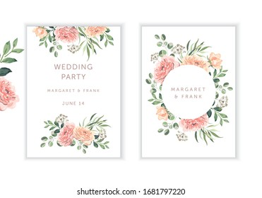 Wedding cards design. Blush pink rose flowers, green leaves bouquets, round frame, white background. Vector illustration. Romantic floral arrangements. Invitation template