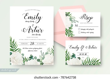 Wedding cards floral design. Invite, invitation, rsvp, response card save the date set. White garden rose peony flower forest fern, green tropical palm leaf, silver dollar eucalyptus branch decoration