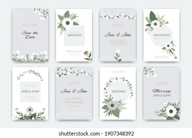 Wedding cards. Invitations to the marriage ceremony. Collection of postcards with names or holiday date and decorative elements. Hand drawn floral frames and borders. Vector inviting guests to party