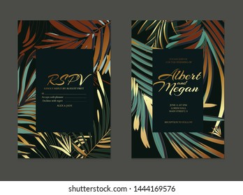 Wedding cards with luxury gold palm leaves and text. Modern invitation design background for wedding, invitation, web, banner, card, pattern, wallpaper vector illustration