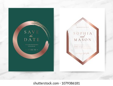 Wedding cards with marble background cover Green and rose gold texture vectot