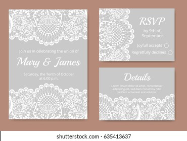 Wedding cards set with white lace border on gray background