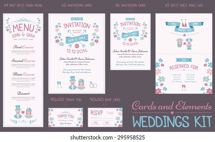 Wedding cards vintage style. Invitation, RSVP, Menu, Thank you, Table card. EPS10, text outlined.