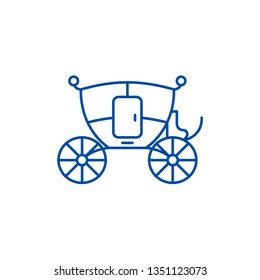 Wedding carriage line icon concept. Wedding carriage flat  vector symbol, sign, outline illustration.