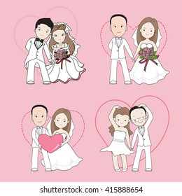 wedding cartoon, bride and groom holding each other's hands with happy face