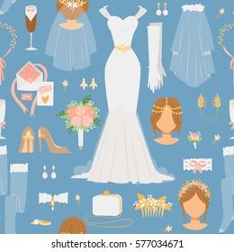 Wedding cartoon bride icons vector seamless pattern