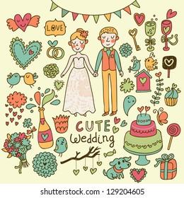 Wedding cartoon set