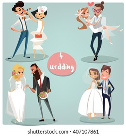 Wedding cartoon set: Brides and grooms couples