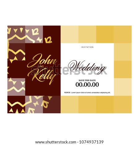 Wedding Ceremony Card Elegant Design Typography Stock Vector