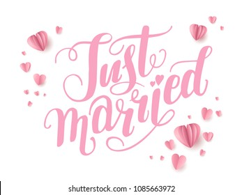 Wedding ceremony card. Paper cut and craft style. Loving couple on holiday background. Just married lettering