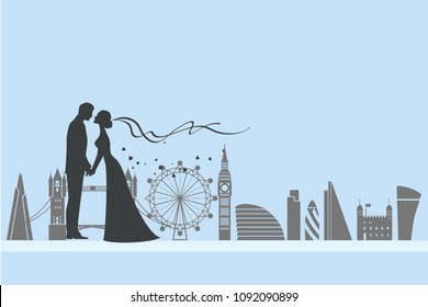 Wedding ceremony card. Paper cut and craft style. Loving couple in London. London attractions as the background