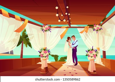 Wedding ceremony in exotic country or tropical beach cartoon vector concept. Happy bride and groom hugging on decorated with flowers and white veil terrace on sea shore after marriage illustration