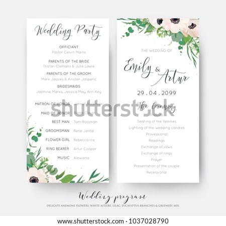 Wedding Ceremony Party Program Card Elegant Image