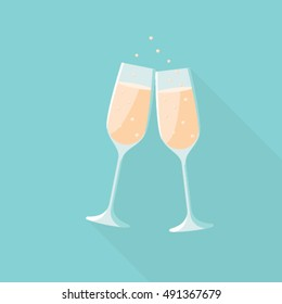 Wedding champagne flat icon vector illustrator