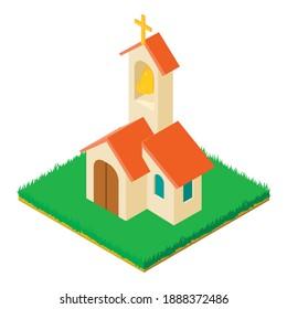 Wedding church icon. Isometric illustration of wedding church vector icon for web