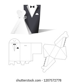 Wedding clothes wear box. Wedding invitation. Retail Box with Blueprint Template