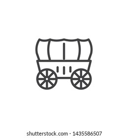 Wedding Coach line icon. Stagecoach linear style sign for mobile concept and web design. Horse carriage wagon outline vector icon. Symbol, logo illustration. Vector graphics