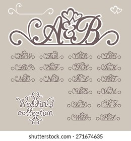 Wedding collection. Initials of Bride and Groom. Vector illustration