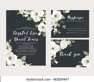 Wedding collection,wedding design,invitation card,romantic floral,white flower