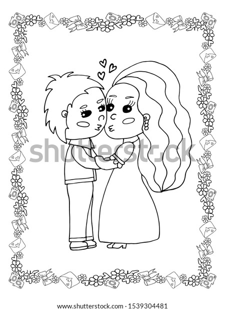 Wedding Coloring Page Isolated Line Art Stock Vector (Royalty Free)  1539304481