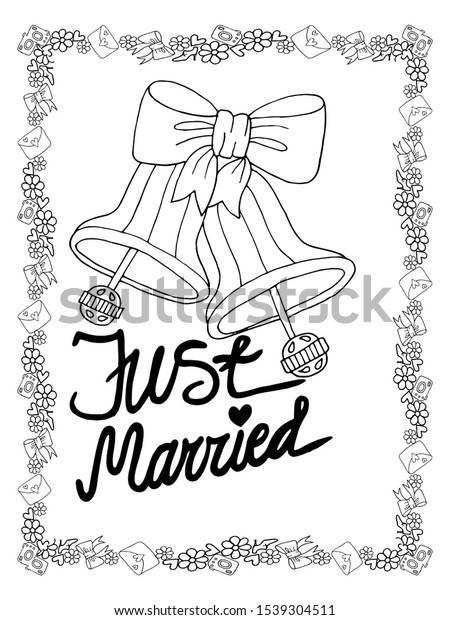 Wedding Coloring Page Isolated Line Art Stock Vector (Royalty Free)  1539304511