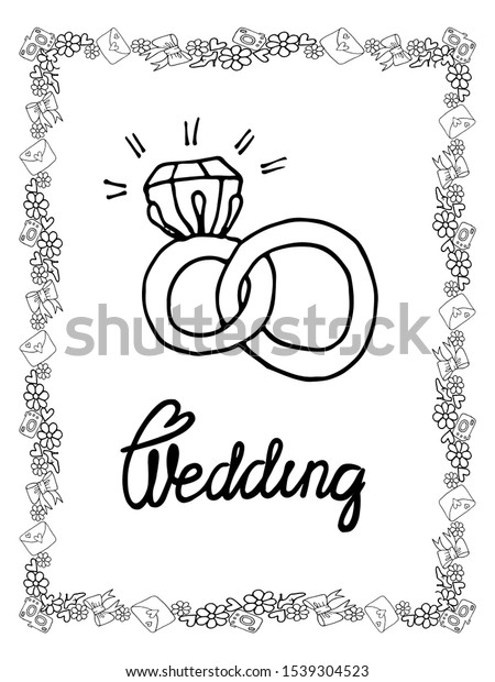 Wedding Coloring Page Isolated Line Art Stock Vector (Royalty Free)  1539304523