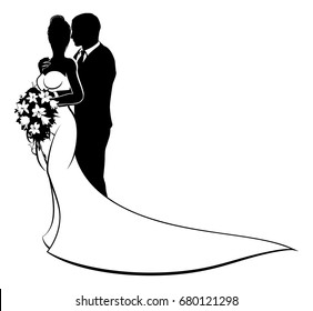 Wedding Couple Black White Illustration Images Stock Photos Vectors Shutterstock