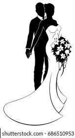 Wedding concept of bride and groom couple in silhouette with the bride in a white bridal dress gown holding a floral bouquet of flowers