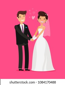 Wedding concept. Happy bride and groom holding hands. Cartoon vector illustration