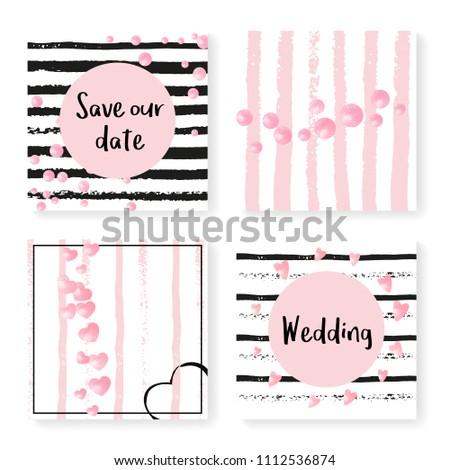 Wedding Confetti Stripes Invitation Set Pink Stock Vector