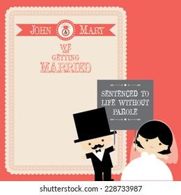 Wedding couple Cartoon card template, vector/illustration. Celebrating Love wedding invitation
