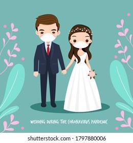 wedding couple cartoon during Coronavirus pandemic