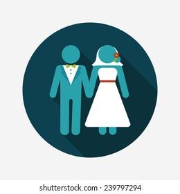 wedding couple flat icon with long shadow,eps10