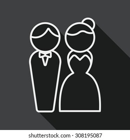 wedding couple flat icon with long shadow, line icon