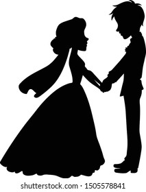 Wedding Couple Holding Hands Silhouette on Transparent Background