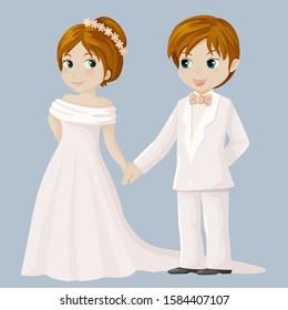 Wedding couple holding hands. Vector illustration