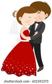 Wedding couple hugging together illustration