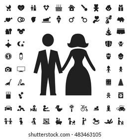 Wedding couple icon illustration isolated vector sign symbol