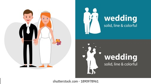 wedding couple isolated vector flat icon. silhouette line solid design element