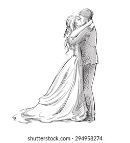 Wedding couple kiss. Newlywed. Vector sketch EPS 10.