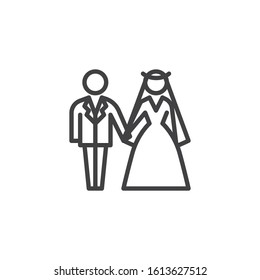 Wedding couple line icon. Newlyweds linear style sign for mobile concept and web design. Bride and groom wedding outline vector icon. Symbol, logo illustration. Vector graphics