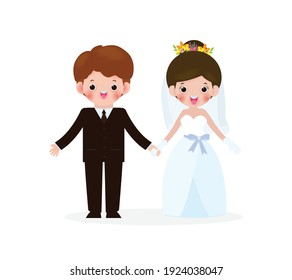 Wedding of couple people concept, man and woman in love.  Cute person couple valentine day, wedding isolated on white background Vector Illustration in flat style