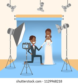 Wedding couple in the photostudio making photoshoot for memory. Happy beautiful bride and handsome groom. Various equipment such as softbox and camera. Flat vector illustration